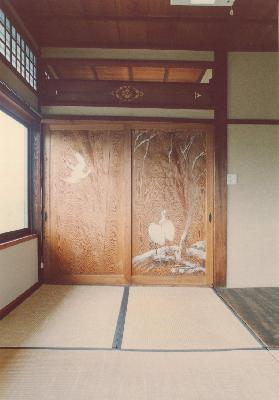 旧勝田邸杉板戸絵