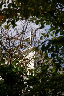 カトリック教会の十字架。キラキラしてました。